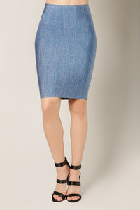 """Marina"" Basic Bandage Skirt - Medium Denim"