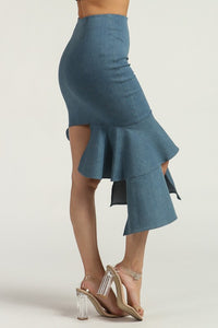 """Harper"" Asymmetrical Ruffled Denim Skirt"