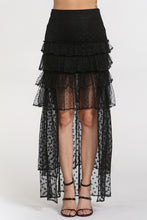 "Load image into Gallery viewer, ""Mona"" Mesh Polka Dot Ruffled High Low Skirt - Black"