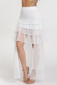 """Mona"" Mesh Polka Dot Ruffled High Low Skirt - Off White"
