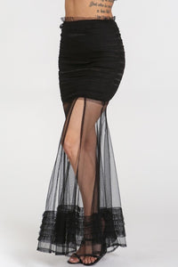 """Mina"" Scrunched Tiered Mesh Mini Maxi Skirt - Black"