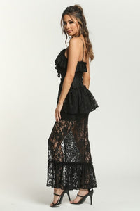"""Lacee"" Romantic Lace Peplum Ruffled Maxi Dress - Black"