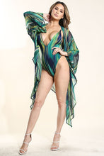 "Load image into Gallery viewer, ""Mrs. Parker"" Jersey Swimsuit & Mesh Kimono Set - Green"