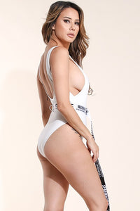 """Savage"" Belted One-Piece Swimsuit"