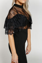 "Load image into Gallery viewer, ""Victoria"" LBD Lace Ruffled Sexy Party Date Night Dress"