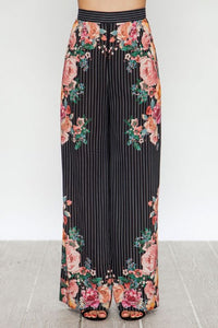 "'Dawson"" High Waist Striped Floral Wide Leg Pants"