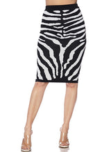 "Load image into Gallery viewer, ""Zara"" Zebra Knit Pencil Skirt"