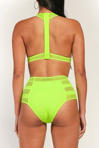 """Alexa"" High Waist Elastic Band Swimsuit - Neon Green"