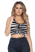 "Load image into Gallery viewer, ""Zara"" Zebra Knit Crop Top"