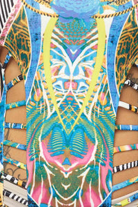 """Arizona"" Tribal Print Cut-Out Scuba Bodysuit"