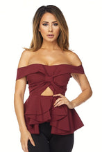 "Load image into Gallery viewer, ""Elise"" Off Shoulder Sweetheart Peplum Top - Burgundy"
