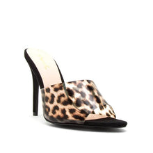 "Load image into Gallery viewer, ""Brynlee"" Clear Leopard Print Faux Suede Pointed Mules Heels"
