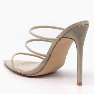 """Encore"" 3 Strap Stiletto Mules - Nude"