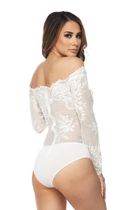 """Alena"" Lace Mesh Off-Shoulder Bodysuit"