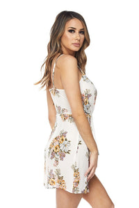 """Donatella"" Floral Twist Mini Dress - White"