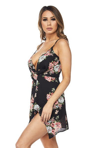 """Donatella"" Floral Twist Mini Dress - Black"