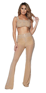"""Foxy"" Jeweled Crop Top & Pants Set - Nude"