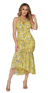 """Arianna"" Mesh Mermaid Ruffled Floral Midi Dress - Yellow"