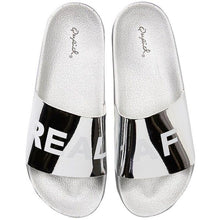 "Load image into Gallery viewer, ""REAL AF"" Silver Metallic Slides"