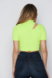 """Corin"" Neon Slashed Knit Crop Top"