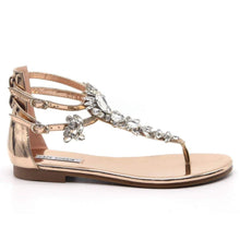 "Load image into Gallery viewer, ""Alyssa"" Jeweled Rose Gold Sandals"