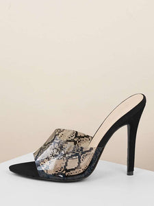 """Brynlee"" Clear Snake Print Faux Suede Pointed Mules Heels"
