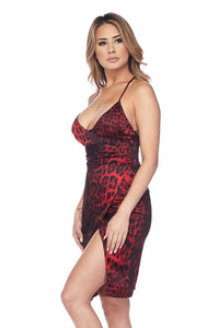 """Chastity"" Cheetah Satin Cocktail Dress"