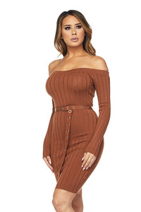 """Lora"" Ribbed Knit Off-Shoulder Belted Bodycon Dress"