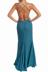 """Samara"" Strappy Maxi Dress - Teal"