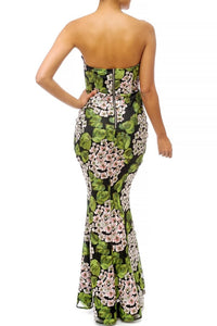 """Flora"" Floral Embroidered Mermaid Maxi Dress"
