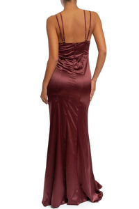 """Sydney"" Satin Maxi Dress - Burgundy"