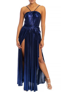 """Tara"" Metallic Slit Maxi Dress - Blue"