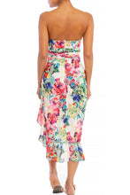 "Load image into Gallery viewer, ""Aria"" Strapless Floral Asymmetrical Ruffled Midi Dress"