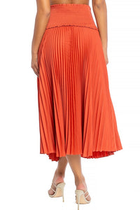 """Roni"" Smocked Pleated High Waist Skirt - Rust"