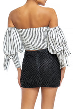 "Load image into Gallery viewer, ""Melody"" Off Shoulder Striped Puff Sleeve Crop Top"
