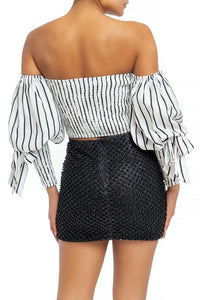 """Melody"" Off Shoulder Striped Puff Sleeve Crop Top"