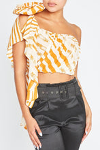 "Load image into Gallery viewer, ""Brooklyn"" Striped Chriffon Crop Top - Mustard"
