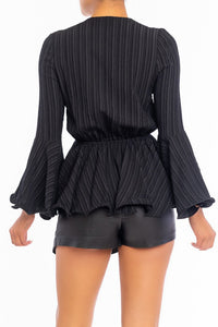 """Sandra"" Textured Plunging Peplum Top - Black"