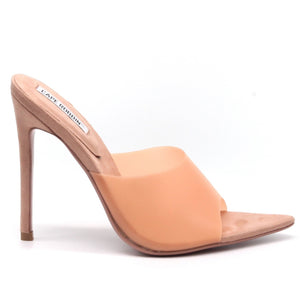 """Rainbow Rain"" Stiletto Faux Suede Pointed Toe Mules - Blush"