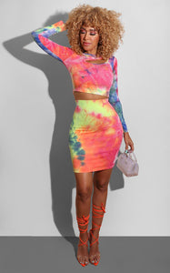 """Ty"" Dye Two Piece Crop Top & Skirt Set"