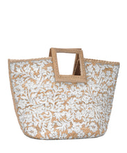 "Load image into Gallery viewer, ""Amma"" Wooden Jute Floral Summer Satchel"