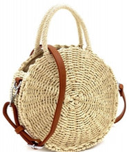 "Load image into Gallery viewer, ""Emily"" Straw Round Medium Satchel Bag"