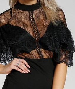 """Victoria"" LBD Lace Ruffled Sexy Party Date Night Dress"
