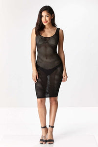 """Ryan"" Knit Net Bodycon Dress - Black"