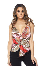 "Load image into Gallery viewer, ""Catarina"" Satin Twist Peplum Top"