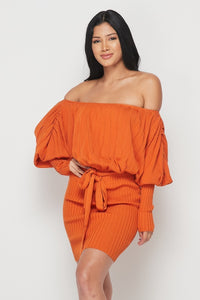 """Gemma"" Off Shoulder Knit Mini Dress"