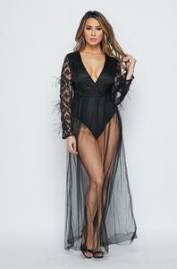 """Mya"" Bodysuit Mesh Maxi Dress"