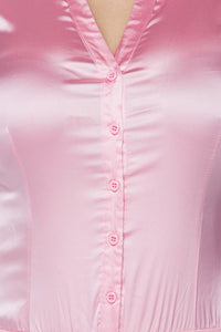 """Aleeza"" Satin Button Down Bodysuit - Pink"