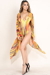 """Mrs. Parker"" Jersey Swimsuit & Mesh Kimono Set - Yellow"