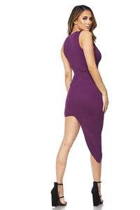 """Lana"" Ribbed Asymmetrical Bodycon"